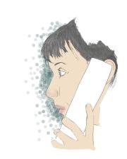 phone call sally sketch whie blue blobs