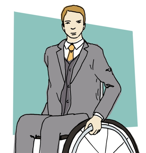 young professional wheelchair user