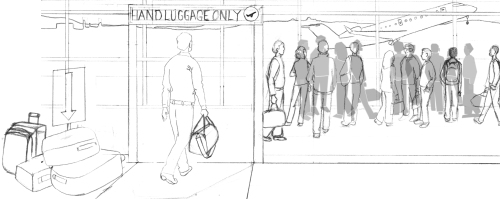 for social hand luggage sketch